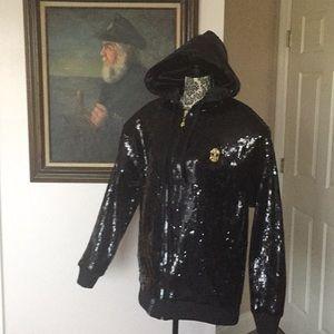 LRG Jewel of Denial Black Sequin Hooded Jacket XL
